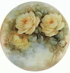 "Photo from album ""Sonie Ames (Цветочно-декупажное)"" on Yandex. Decoupage Vintage, Art Floral, Painted Plates, Hand Painted, Illustration Blume, China Painting, Yellow Roses, Pink Roses, Vintage Flowers"