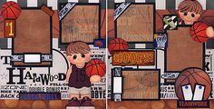 BASKETBALL-2-Premade-Scrapbook-Pages-BOY-3D-paper-piecing-4-Album-BY-CHERRY