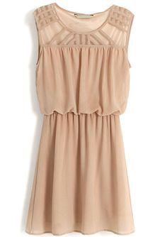 Brown Sleeveless Hollow Shoulder Bandeau Dress - Sheinside.com