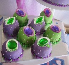 These fabulous petit fours are adorned with edible purple & green jewels… Halloween Fabulous Fashionista Witches Party