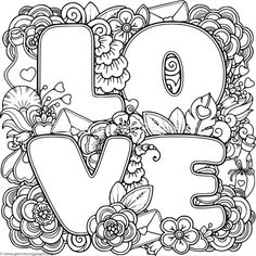 Love Zentangle Art 3 Coloring Pages Love Coloring Pages, Printable Adult Coloring Pages, Mandala Coloring Pages, Coloring Books, Zentangle Patterns, Zentangles, Free Downloads, Style Floral, Doodles