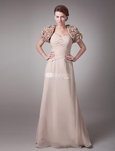 Fantastic Champagne Chiffon Sweetheart Spaghetti Strap A-Line Mother of The Bride Dress. The little shawl is included.. See More Mother of the Bride Dresses at http://www.ourgreatshop.com/Mother-of-the-Bride-Dresses-C928.aspx