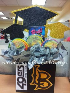 Graduation Candy Centerpiece with School Logo www.facebook.com/niniscraftsandthings