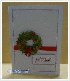 Tarjeta Navidad sellos frases navideñas