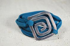 Aluminium Spiral bracelet square spiral element lycra di Violanima