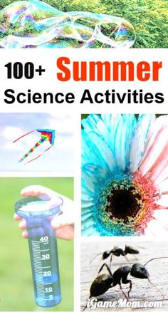 Hands-on easy summer science activities for kids, in backyard, at the park, in your kitchen -- bird, bug, rain, wind, sun, moon, sand, water, ice, ... Have your own science lab with cool summer STEM ideas