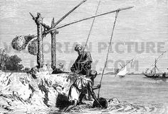 Shaduf, River Nile. Victorian illustration of an irrigation device, a shaduf,on the River Nile. Two long poles work on a pivot, a lump of clay at one end and a bucket on the other; two men are lifting water out of the river and pouring the water into a ditch to water the fields. Download high quality jpeg for just £5. Perfect for framing, logos, letterheads, and greetings cards.