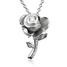 Sterling Silver Rose Flower Diamond Pendant Necklace (GH, I1-I2, 0.20 carat) « Delay Gifts
