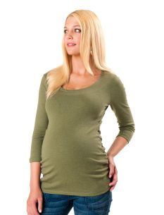3/4 Sleeve Scoop Neck Side Ruched Maternity T Shirt