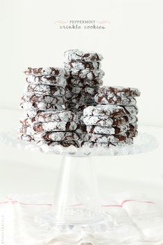 Gorgeous  peppermint crinkle cookies. These would be a welcome surprise at a cookie swap party. #peppermint #holiday #dessert