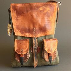 Unisex post apocalyptic messenger bag, handmade from scratch by Konrad Radziszewski from Time Vehicle now at our etsy…