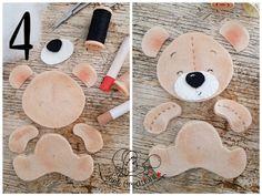 blend with pink fabric (Tutorial ) Felt Animal Patterns, Felt Crafts Patterns, Stuffed Animal Patterns, Teddy Bear Crafts, Diy And Crafts, Crafts For Kids, Baby Crafts, Diy Bebe, Felt Fabric