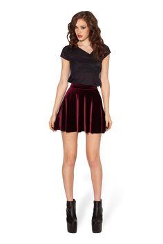XS Velvet Mulled Wine Skater Skirt by Black Milk Clothing