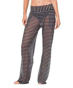 Love this Black & White Stripe Semi-Sheer Mesh Pants on #zulily! #zulilyfinds