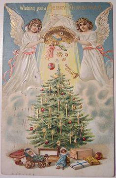 angels Vintage Christmas Postcard / Christmas Card Art - Postcard - Posters