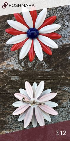 "Vintage Enamel Daisy Brooch - 70s Retro Fashion Fabulous Red, White and Blue Enamel Flower Brooch - New Old Stock from the late 70s. Measures 2.5"" Diameter Coro Jewelry Brooches"