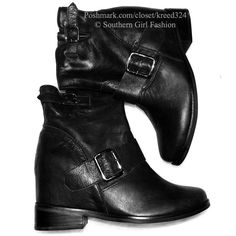 FREE PEOPLE Boots Ankle Booties Leather Wedge Shoe Available Sizes: 10, 11.  New with box. $238 Retail + Tax.  • Beautiful black ankle booties featuring silvery hardware buckles and hidden wedge.  • Light intentional distressing, side zip closure, rounded toe.   • By Jeffrey Campbell for Free People.  • Leather.  • NOTE: Runs 1 size small. Recommend to size up.   {Southern Girl Fashion - Closet Policy}   ✔️ Same-Business-Day Shipping (10am CT). ✔️ Reasonable best offer considered when…