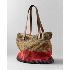 Striped Straw Tote~~~i love bags!!!