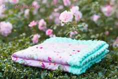"""Blanket by Miathilde with minky polar and Michael Miller cotton """"Mr. Bear""""."""