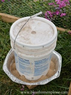 DIY Chicken Feeder from 5 Gallon Bucket Chicken Waterer, Chicken Feeders, Chicken Water Feeder, 5 Gallon Buckets, Plastic Buckets, Survival Food, Survival Tips, Survival Stuff, Survival Skills
