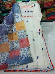 Hasini collections Embroidery On Kurtis, Kurti Embroidery Design, Hand Embroidery, Churidar Designs, Kurta Designs Women, Designer Punjabi Suits, Indian Designer Wear, Dress Neck Designs, Blouse Designs