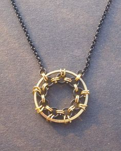 Black and Gold Chainmaille Necklace