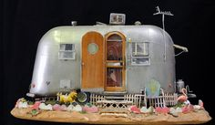 Tim Prythero - Miniature mixed media sculpture Airstream Trailer