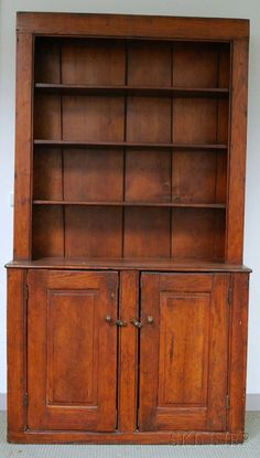 Country Pine Step-back Cupboard, ht. 84, wd. 47 in