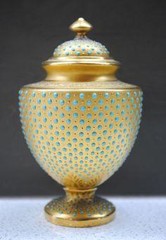 RARE C.1890 Antique Coalport gilded & Jewelled beaded lidded urn vase | eBay