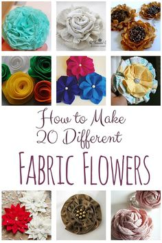 A collection of 20 different Fabric Flowers that you can make. Each with a link to their tutorial. Make your own fabric flowers!