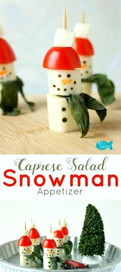 These String Cheese Snowman Caprese Salad Appetizers are simple to make and sure to be a hit for snack time or parties! Snowman   String Cheese   Winter   Winter Appetizer   Winter Snacks   Christmas Food   Snowman Food   Snowman Snack   String Cheese Sno
