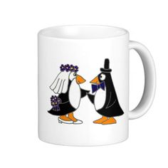 Funny Penguin Bride and Groom Wedding Cartoon Mug #wedding #penguins #funny #mugs #bride #groom #shower And www.zazzle.com/allsmilesweddings*