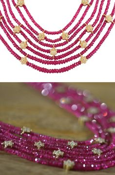 Stunning faceted Persian magenta Sapphires enhanced with intricate 18kt gold and diamond encrusted flowers. Each Diamond flower is meticulously hand-woven into the sparkling Sapphires and finished with an 18kt gold clasp. Via 1stdibs.