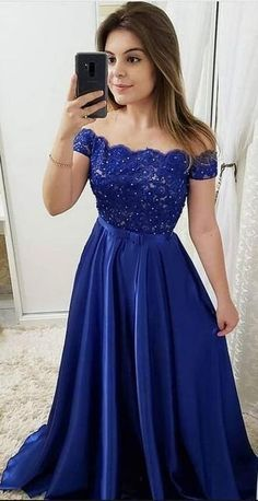 Beaded Royal Blue Satin Lace Prom Dress Custom Made Beading School Dance Dresses Fashion Long Off Shoulder Evening Party Dresses Custom Bridesmaid Dresses Formal Dresses For Weddings, Cheap Prom Dresses, Formal Evening Dresses, Sexy Dresses, Party Dresses, Elegant Dresses, Dress Formal, Summer Dresses, Occasion Dresses