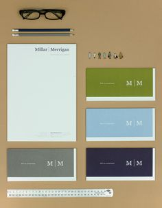 Gorgeous identity work, typography, and colors. Stationery for Millar Merrigan by Studio Constantine:   Colours_ Pantone 281, Cool Grey 9, 278 and 383  Stock_ 115gsm and 140gsm Stephen Chilled White.