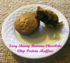 Skinny Banana Chocolate Chip Protein Muffins
