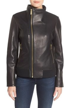 MICHAEL Michael Kors Funnel Collar Asymmetrical Zip Leather Jacket available at #Nordstrom