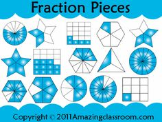 Over 100 images (clipart) of fraction pieces to use on any interactive whiteboard or to even just print out the png images from the zip file and create math Daily 5 activities for stations.  Love these!