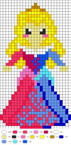 Sleeping Beauty Aurora Mixed Colors Dress | Perler Bead Pattern