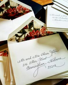 Beautiful Crane & Company wedding invitation envelopes addressed in my Fancy Script {Calligraphy by Carrie}