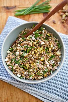 Farro Salad with Arugula, Lemon, Feta and Pistachio   A Sweet Spoonful