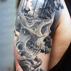 Man With Realistic Skull And Forest Scene Upper Sleeve Tattoo