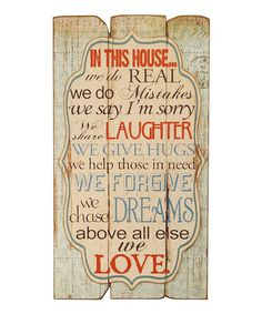 Loving this 'In This House' Sign on #zulily! #zulilyfinds