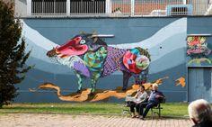 phsycadellic street art by Rojo Roma. In Turin, Italy.