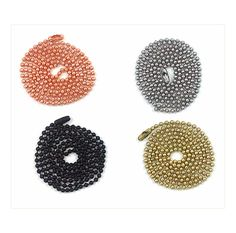 Ball Chain for ID tag Sets Available in Stainless Steel, Copper, Brass and Black. Can be cut to size for children.