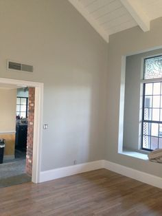 Benjamin Moore's Chantilly Lace. It's one of my favorite whites to use because it reads as a true white. There are no gray undertones like W...