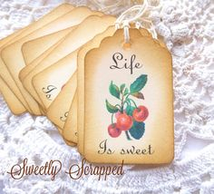 Cherry Tags Life Is Sweet Available with or by SweetlyScrappedArt, $3.75