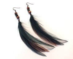 Summer Forest Green Natural Feather Earrings with by LonelyCoyote, $14.00