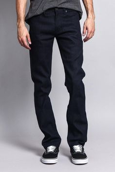 Not too loose, not too tight, just right. Every guy should have a great pair of slim jeans in their closet, to wear with just about anything. Consider it your wardrobe staple for any and every occasion.- Brand: Victorious- 90% Cotton, 7% Polyester, 3% Spandex- Added stretch for maximum comfort - Sits below waist, slim through thigh, tapered leg- Classic five-pocket styling- Zipper fly, button closure- Machine-wash cold inside-out with like colors, line dry- Imported. Designed in Los Angeles Raw Raw Denim, Denim Jeans, Black Jeans, Look Good Feel Good, Slim Man, Business Casual, Wardrobe Staples, Indigo, Thighs