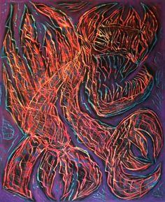 """Demone denaro"" 2014 Tecnica mista su cartoncino 58x48 Pinacoteca Sant'Arpino (CE) ©Pietro Gargano"